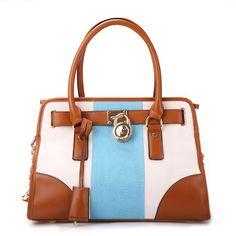 300459d3916a Michael Kors Hamilton Canvas Striped Tote Bag Ew Satchel Manderin Medium  Chanel Handbags, Mk Handbags