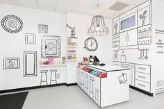 The Candy Room: fabulous! Black vinyl wall stickers as decoration with a perfectly selected open wire pendant light fitting!