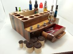 Electronic Cigarette Vapor Stand/Display Handmade Wood Organizer -- MOD- TIPS- TANKS - XLarge - (EC0172) by WoodArtBoxes on Etsy