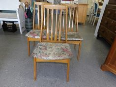 Three dining chairs, reupholstering project ---------------- £5 each (pc794)
