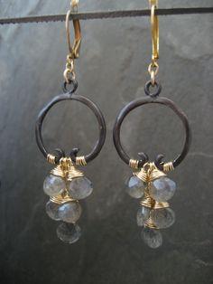 Labradorite cascading hoop earrings oxidized by ElfiRoose on Etsy
