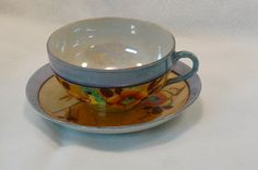 Hand Painted Lusterware Tea Cup and Saucer Exotic Bird @Michelle Brungardt Weigel #dteam