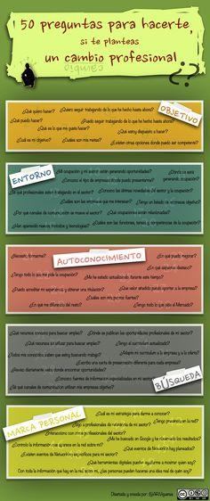 Infografia: 50 preguntas para hacerte si te planteas un cambio profesional CAST (ARiVigueras)
