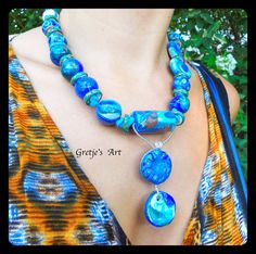 This faux lapis necklace is inspired by ancient Mediterranean myths and sea- faring traditions. Made to bring you warm sunny seas, a hint of exotica,