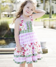 Another great find on #zulily! Pink & Sage Halter Tie-Back Dress - Infant, Toddler & Girls by Be Girl Clothing #zulilyfinds