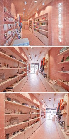 Along a row of similar sized stores, this new retail stationery shop stands out as they created a colorful interior that features European solid Douglas timber, speckled jesmonite and dusky pink encaustic tiles.
