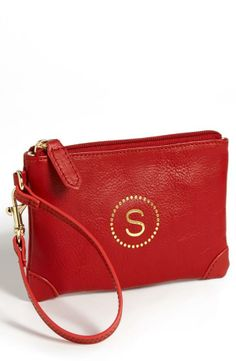Personalized Leather Wristlet
