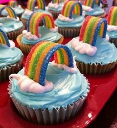 Oh, so cute...I am going to have to go with a rainbow theme party for one of my girls this year.