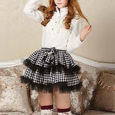 Sexy Plaid Goth Punk Lolita Schoolmeisje Club Mini Wit en zwart rokje - EUR € 17.63