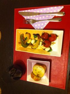 Entree - Oven roasted vegetables drizzled with balsamic vinegar and mini bocconcini with a side or garlic bread.