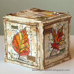 Layers of ink - Fall Artist Trading Block Tutorial, made with a Sizzix die by Eileen Hull and Tim Holtz Stamper's Anonymous stamps and Distress Inks.
