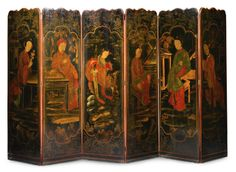 A Chinoiserie lacquer-decorated six-panel screen century Chinese Furniture, Oriental Furniture, European Furniture, Contemporary Furniture, Antique Furniture, Decoration, Art Decor, 4 Panel Room Divider, Room Dividers