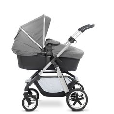 The Pioneer pram and pushchair from Silver Cross, shown here in the Silver colourway