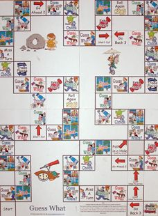 Sample Game Board- student or teacher must describe thing using the relative clause.  Guess What Game Board.