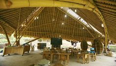 A Typical 100% Bamboo Classroom at Green School in Bali by Ibuku Architecture