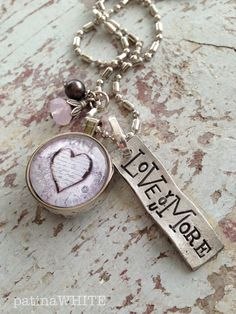 love you MORE....combined cute charms NECKLACE by patinaWHITE