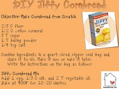 If you like Jiffy Cornbread or Corn Muffin Mix, but would like to try to make it yourself at home, this is a pretty close recipe. It's easy to make. You can make the dry mix a few at a time and keep in them in your pantry. I'm a Texan and I like this cornbread! Yummy sweet cornbread! Making DIY