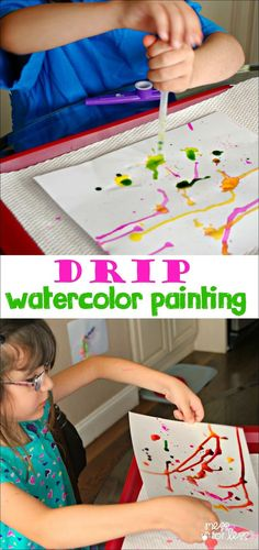 This kids art activity is so much fun! Kids use an eye dropper and  watercolor paints to create. My little ones loved this kids craft. d5514bcc5fbe