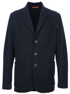 Black wool blazer from Barena featuring a notched lapels, three-button front fastening, patch pocket to the chest, two patch pockets to the front, long sleeves with button cuff details and a single rear vent.