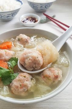 Fish maw soup with prawn meatballs.
