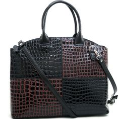 Dasein Kroco® Two-Tone Tote black