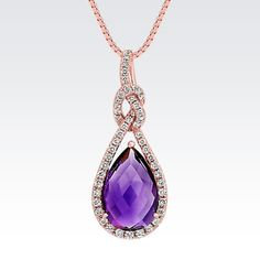 Pear Shaped Amethyst and Round Diamond Pendant in 14k Rose Gold (18 in.) from Shane Co.