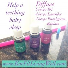 Help a teething baby sleep by diffusing 6 drops Breathe, 4 drops Lavender, and 4 drops Eucalyptus