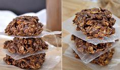 Nepečené čokoládové sušenky s vločkami a arašídovým máslem Almond, Cereal, Chocolate, Breakfast, Recipes, Food, Fitness, Morning Coffee, Recipies