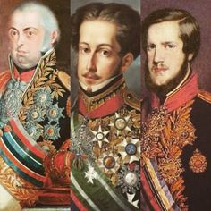 Da esquerda para direita: D. João VI, rei de Portugual; D. Pedro I, primeiro imperador do Brasil; D. Pedro II, filho de Pedro I, segundo imperador do Brasil.