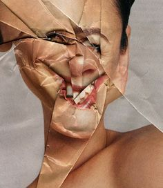 """""""Paper Surgery"""" by  Stephen Shanabrook and Veronika Georgieva. It is created by folding a picture to make a distorted portrait."""
