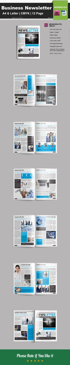 Business Newsletter Template InDesign INDD - 12 Pages, A4 & Letter Size