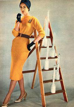 Vintage knitting magazine mania. vintage knitting, knit idea, yellow knit, knit vintag, dresses, 1950s eleg, knit magazin, vintag knitwear, inspiración vintag