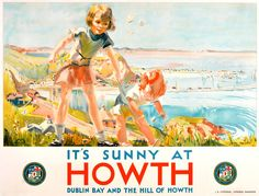 Original 1931 Railway Poster: It's Sunny At Howth Dublin Bay & The Hill of Howth..17