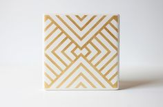 Gold Striped Triangle Coasters Hand Painted White and Gold Ceramic Tile Coasters (Fall Coasters, Birthday, Bridal Party, Gift)