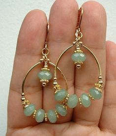 """Price: $25 (were $29) Natural green faceted Aventurine beads are complemented by the 14K Gold plated hoops. Just stunning for any season. www.thedesigntheory.com #designtheoryjewelry #lovejewelrylove #avenuturine #goldenhoop Comment """"Sold"""" to buy and then register at www.soldsie.com/shop/designtheoryjewelry. Message us to combine shipping :) 
