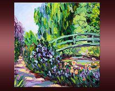 Cerisiers arbre Rose abstrait paysage Original par NuuPaletteKnife