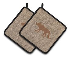 Wolf Faux Burlap and Brown Pair of Pot Holders BB1123-BL-BN-PTHD
