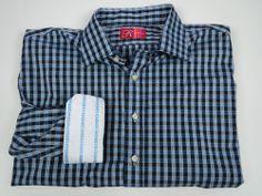 Rufus 2XL XXL Blue Check Cotton Long Sleeve Button Up Shirt #RUFUS #ButtonFront