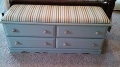 I cut down a dresser to make an end of the bed storage bench with a cushion top