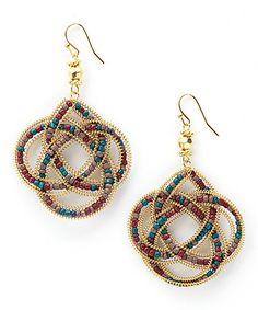 Look what I found on #zulily! Gold & Teal Beaded Knot Drop Earrings #zulilyfinds