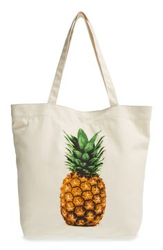 Super cute pineapple canvas tote bag! Perfect for the beach.