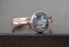 Natural Silver-Grey Rose Cut Cushion Diamond Ring