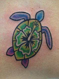 Sea turtle, Hawaiian flower tattoo, change flower and its what I think I want
