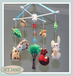 Handmade Forest Animals Mobile by BeeJanie on Etsy