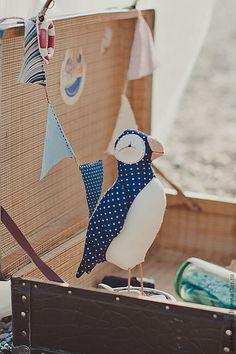 Купить Птичка-тильда Тупик - тёмно-синий, тильда, птица, морской декор, тупик, хлопок