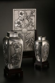 Four Gentlemen - Exhibiting beauty and grace, this vase is decorated by plum blossom, orchid, bamboo and chrysanthemum. #pewter #RoyalSelangor
