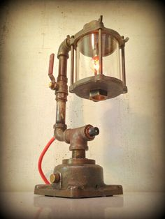 """Deep Thoughts"" ©  Found Object Light Sculpture by Assemblage Artist Jay Lana"