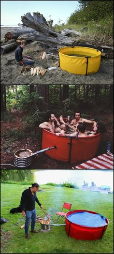 Hot tub on the go. This collapsible hot tub travels in a duffel bag so that you can bring to the great outdoors. It packs up quickly and takes up very little storage space. a hot soak at (Camping Hacks Trailer)