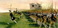 """""""Angriff der preussischen Infanterie, Hohenfriedeberg 4. Juni 1745"""" (Attack of the Prussian Infantry at Hohenfriedeberg, 4 June 1745)(Carl Röchling). Röchling was a German illustrator and painter, who lived from 1855 to 1920, whose works often depicted military themes. The illustration here shows the Prussian Grenadiergardebataillon (No. 6) sometimes known as the Potsdam Giants."""