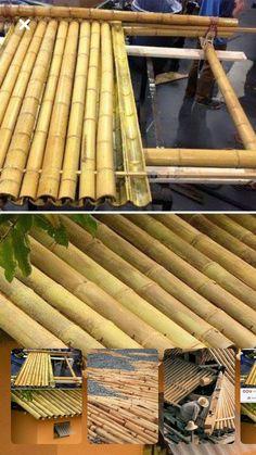 Telhados in 2020 Bamboo In Pots, Bamboo Roof, Bamboo Panels, Bamboo Garden, Bamboo Fence, Terrace Garden, Bamboo House Design, Bamboo Building, Urban Garden Design